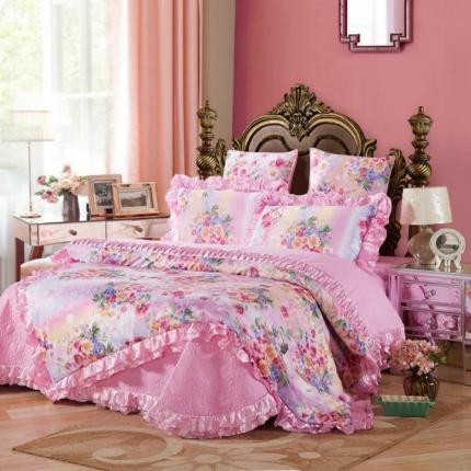 小时代家纺全棉贡缎欧式婚庆件床盖四件套六件套品妍