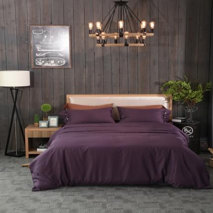 一岚家居 纯色拼色60S长绒棉四件套冷艳紫