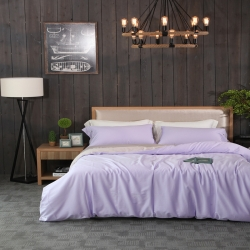 一岚家居 纯色拼色60S长绒棉四件套优雅紫配灰