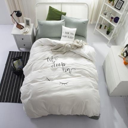 杰米家纺 水洗棉大版绣花系列四件套晚安好梦