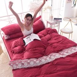加厚保暖宝宝绒床上四件套法兰绒被套纯色1.8床蕾丝刺绣