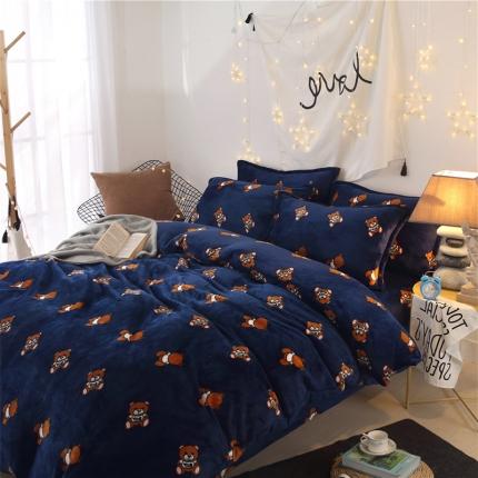小熊宝贝  44个法莱绒四件套床单款【所有花色床笠款可定做】