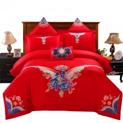 慕她家纺全棉纯棉婚庆四件套大红色刺绣结婚六件套多件套福喜龙凤