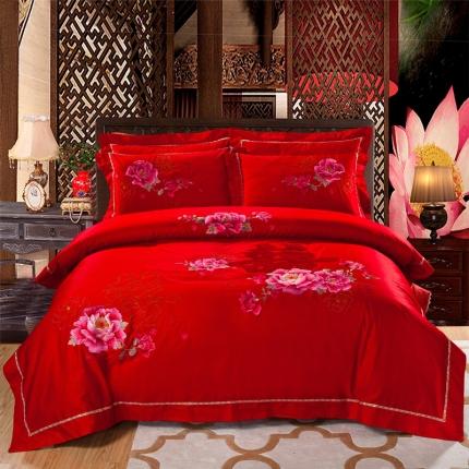 中式全棉绣花四件套大红中国风结婚全棉刺绣婚庆四件套苏绣大红