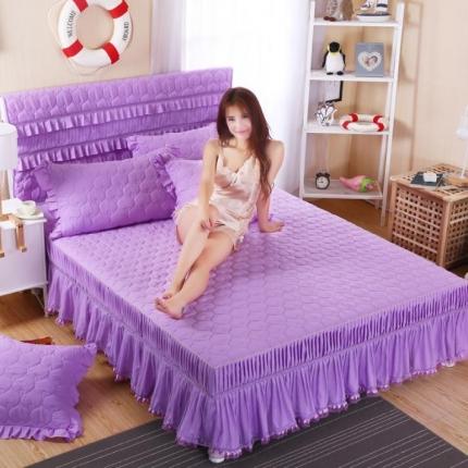 麦蕾迪家居 磨毛纯色夹棉床裙 紫色