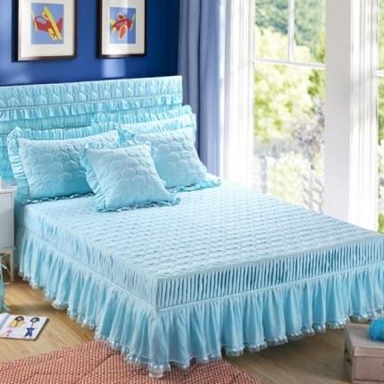 麦蕾迪家居 磨毛纯色夹棉床裙 蓝色