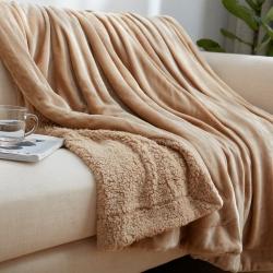 来菲家纺双层羊羔绒+金貂绒毛毯卡其色