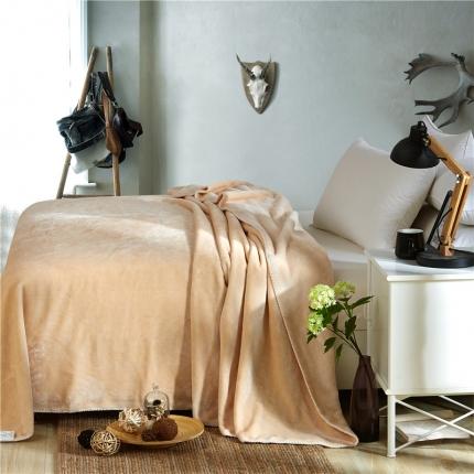 绒品之家 素色三角针毛毯米黄