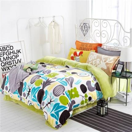绒品之家 230克法莱绒印花四件套床单款菠萝菠萝蜜