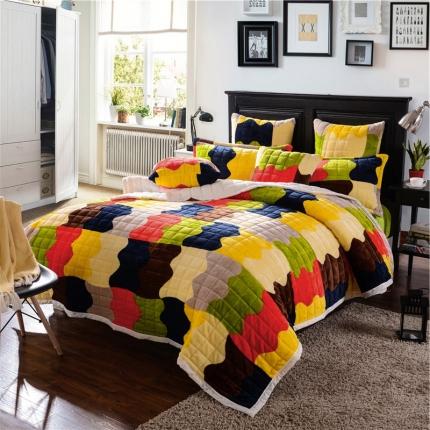 绒品之家 三层加厚双层夹棉复合毯风吹麦浪