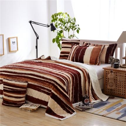 绒品之家 三层加厚双层夹棉复合毯浓情布朗尼
