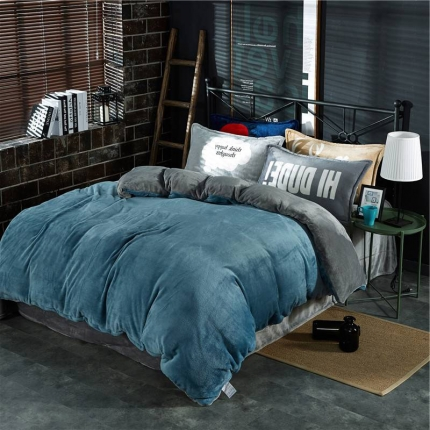 绒品之家 230克法莱绒双拼四件套床单款孔雀蓝+灰