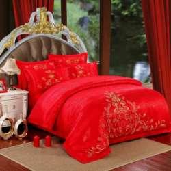 歐派克 全棉婚慶大紅四件套高檔提花繡花純棉四件套愛之羽-大紅