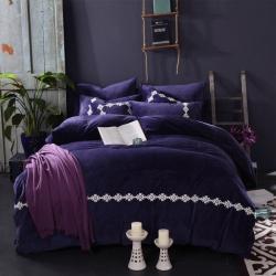 (总)铂尔曼家纺 宝宝绒水晶绒-简约特种绣四件套可另配抱枕套