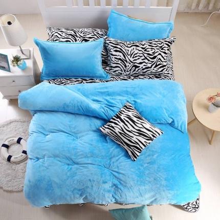 瀚之宝家纺 素色斑马貂狐绒四件套斑马蓝色