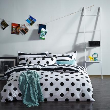 (总)清怡家纺 2016新款全棉黑白多规格四件套床单款