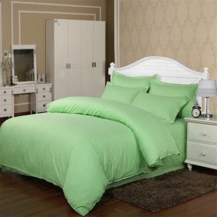 清怡家纺 全棉缎条套件单品被套 浅绿色