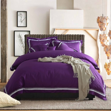纯优家纺 全棉北欧式纯色四件套拉菲庄园