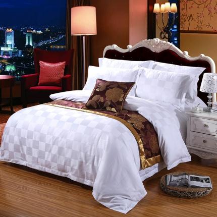 清怡家纺 全棉60贡缎提花五星级酒店四件套系列 60S九宫格