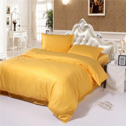 清怡家纺 全棉缎条套件单品被套 金黄色