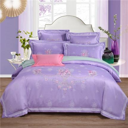 浩情国际 贡缎长绒绵提花四六件套花语传情-紫色