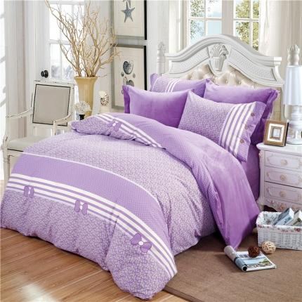 初舍生活 棉绒双拼舒适保暖四件套紫色丽影