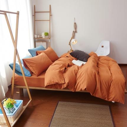 纯优家纺 新良品风纯色磨毛系列四件套暖橙