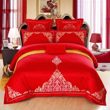 浩情国际 贡缎长绒绵提花四六件套百年相守-中国红
