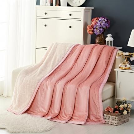 品乐家纺 三层加棉加厚贝贝绒毯粉色