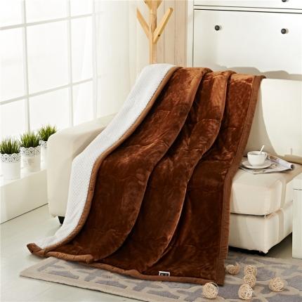 品乐家纺 三层加棉加厚贝贝绒毯咖啡色