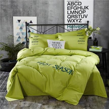 第一季家纺 字母刺绣休闲风四件套 青草-绿