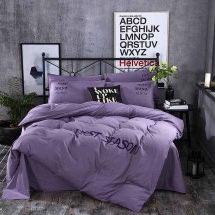 第一季家纺 字母刺绣休闲风四件套 香芋-紫