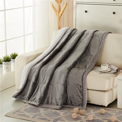 品乐家纺 三层加棉加厚贝贝绒毯银灰色