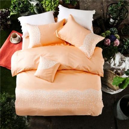 第一季家纺 全棉纯色蕾丝四件套米拉