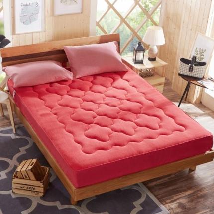 麦蕾迪家居 法莱绒床垫式床笠(梅花、扑克牌、鱼尾)梅花砖红
