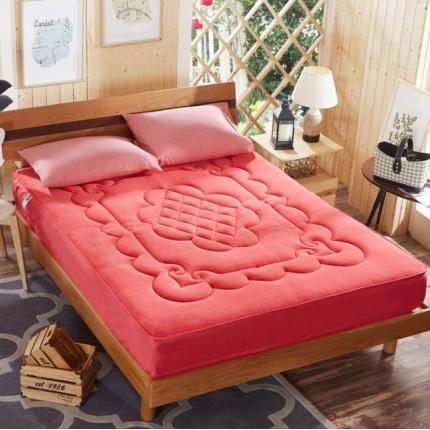 麦蕾迪家居 法莱绒床垫式床笠(梅花、扑克牌、鱼尾)扑克牌砖红