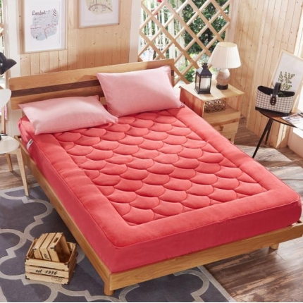 麦蕾迪家居 法莱绒床垫式床笠(梅花、扑克牌、鱼尾)鱼尾砖红