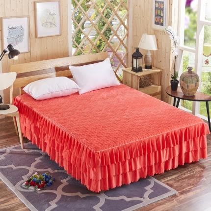 麦蕾迪家居水晶绒绗绣花边床裙+绗绣三层床裙三层绗绣床裙-红玉色