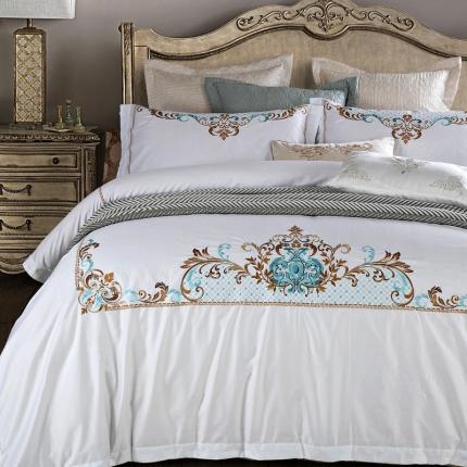 兰博家纺 高端刺绣系列长绒棉四件套Elizabeth伊丽莎白