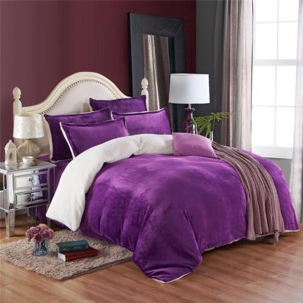 简爱家纺 2016法莱绒羊羔绒四件套床单款深紫宝宝绒