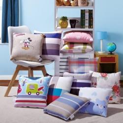 屹�k家纺 全棉印花抱枕被靠垫被两用抱枕被子