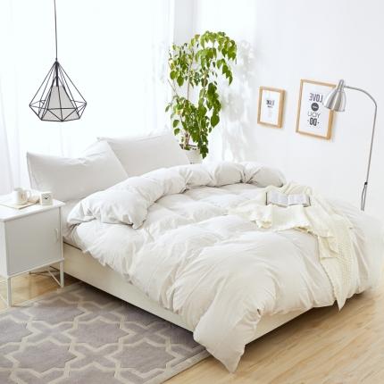 色织生活 色织小提花嵌线四件套床单款60嵌线-白