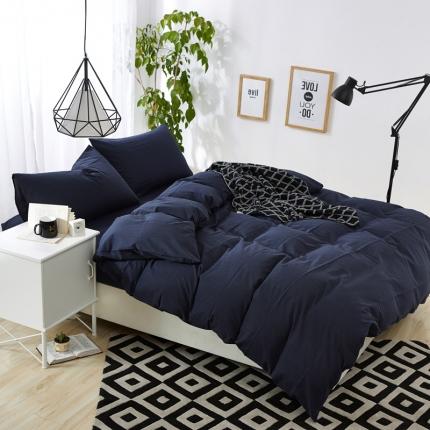 色织生活 色织小提花嵌线四件套床单款60嵌线-藏青