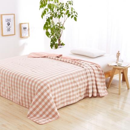 色织生活 亲肤舒适水洗棉花夏被粉中格