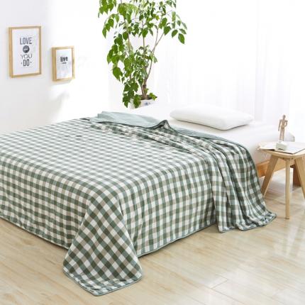 色织生活 亲肤舒适水洗棉花夏被绿白中格