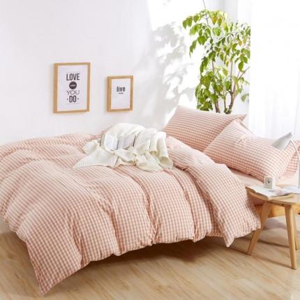 色织生活 简约宜家水洗棉四件套床单款粉色小格