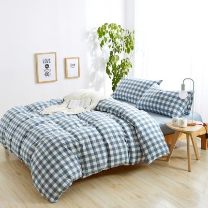 色织生活 简约宜家水洗棉四件套床单款蓝白中格