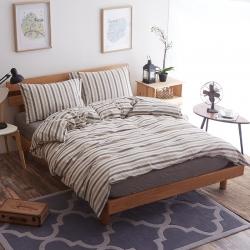 新棉坊 水洗棉四件套床单款咖米条