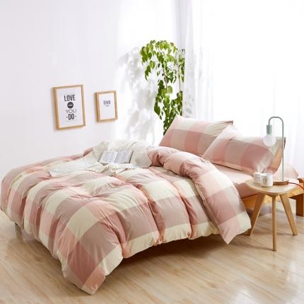 (总)色织生活 简约宜家水洗棉四件套床笠款