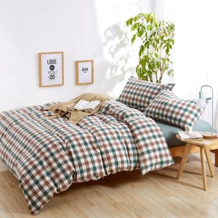 色织生活 简约宜家水洗棉四件套床单款绿咖中格